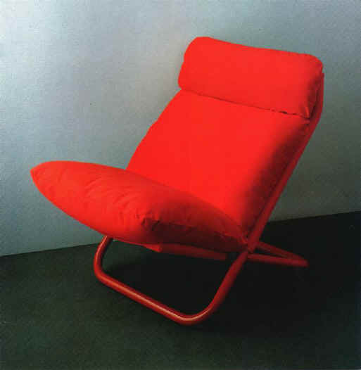 Crossalta, the Cross easy chair version with headrest. Designed by Arch. Marcello Cuneo