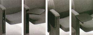 Particolare della poltrona Mac-T. Movimento della tavoletta per scrittura.  Progetto dell'architetto Marcello Cuneo, produzione Arflex